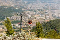 Cable car in Antalya, Turkey. Cable car on the background of Antalya, Turkey, view from the observation deck Stock Photography
