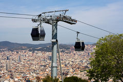 Cable car in Barcelona Royalty Free Stock Photography