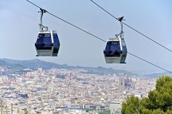 Cable car in Barcelona. Stock Photo