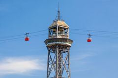 Cable Car in Barcelona. Famous red cable car in Barcelona going between Montjuic mountain and Barceloneta district Stock Images