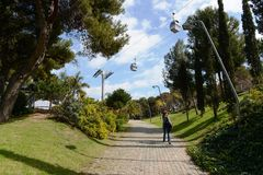 The cable car in Barcelona. Stock Photography
