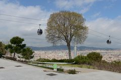 The cable car in Barcelona. Royalty Free Stock Photography