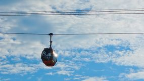 The cable car and blue sky Royalty Free Stock Photo