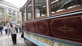 Cable Car boarding point stock video