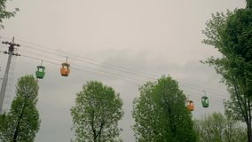 Cable car bottom view stock video footage