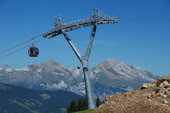 Cable car. Cabin with trellis supporting Stock Images