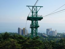 Cable car, cable car, cable car, mountain road stock image