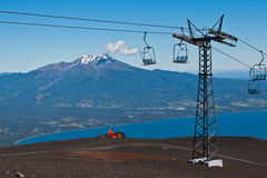 Cable Car and Calbuco Volcano Chile Royalty Free Stock Photo