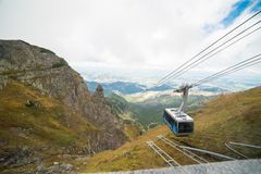 Cable car carries passengers from Kasprowy Wierch Stock Photo