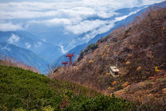Cable car in the Central Alps mountains, Japan. Royalty Free Stock Image