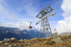 Cable Car from Chamonix to the summit of the Aiguille du Midi Stock Image