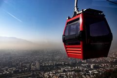 cable car, Chile, with the city in the background stock photo