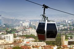 Cable car in the city center. Tbilisi, Georgia Royalty Free Stock Photo