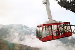 Cable car. Climbing to the top of mount Tahtali.