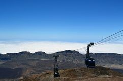 Cable car climbing to the top of Teide volcano, Tenerife, Canary. Islands Stock Image