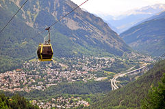 Cable car of Courmyeur Stock Photography