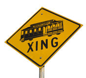 Cable car crossing street sign Royalty Free Stock Photography