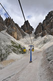 Cable car in Dolomite Mountains, Italy. Stock Photo
