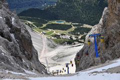 Cable car in Dolomite Mountains, Italy. Royalty Free Stock Image