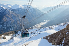 Cable car in Dolomites Royalty Free Stock Photos