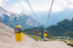 Cable car in the Dolomites Royalty Free Stock Images