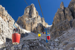 Cable Car in Dolomites - Italy. Royalty Free Stock Images