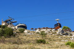 Cable car in Dubrovnik viewed from below Royalty Free Stock Photo