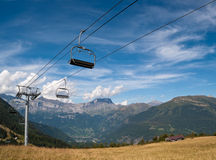 Cable car elevator in French Alps Royalty Free Stock Photos