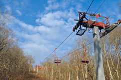 Cable car through the forest on a ridge top. The lift to the vie. Wing platform. Republic of Adygea. Caucasus. Russia Royalty Free Stock Photography