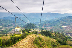 Cable car (funicular) above rice terraces landscape in may (Guan Stock Photos
