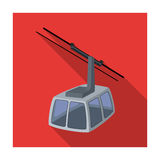 Cable car. Funicular for climbing in the mountains. Holiday winter transport.Transport single icon in flat style vector. Symbol stock web illustration Stock Photography