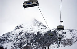 Cable car in Galtür. Cable car in winter, in Austria stock image