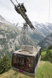 The cable car from Gimmelwald to Stechelberg, Switzerland. The cable car to Stechelberg in Mürren, in Bernese Oberland, Switzerland. This is the part of the two Royalty Free Stock Images