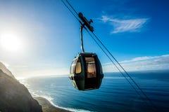 Cable car going down along the cliffs, Achadas da Cruz, Madeira Royalty Free Stock Image