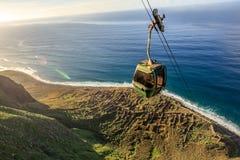 Cable car going down along the cliffs, Achadas da Cruz, Madeira Stock Image
