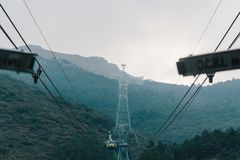 The cable car going from Malcesine to Monte Baldo stock photos