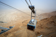 Cable car going to famous Masada, Dead Sea Region Royalty Free Stock Photo
