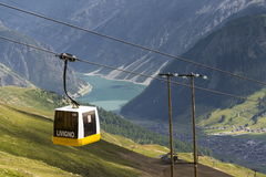 Cable car gondola in Alps mountains near Livigno lake Italy Stock Images
