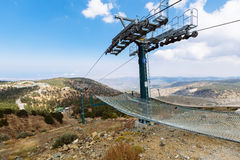 Cable-car gondola station. Ski lifts summer. Cable-car gondola station in summer. Troodos Mountains in Cyprus Stock Image