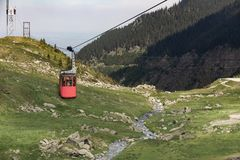 Cable car gondola to Balea Lake. A popular way to reach Balea Lake in Romania is via cable car gondola stock photos
