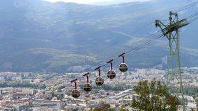 Cable car of grenoble stock video footage