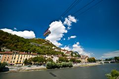 Grenoble cable car to Bastille stock photography
