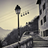 Cable car in Grenoble, France. Cable car and stairs in Grenoble, France royalty free stock photography