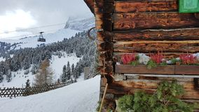 Cable car and house, Piz Sella, Dolomites stock photography