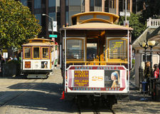Cable car at Hyde and Beach Terminal in San Francisco. SAN FRANCISCO -MARCH 28: Cable car at Hyde and Beach Terminal on March 28, 2013 in San Francisco.The San Royalty Free Stock Image
