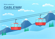 Cable car illustration with place for text. funicular railway banner. cableway in the mountains. Cable car illustration with place for text, Funicular railway Royalty Free Stock Photography