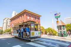 Cable Car intersect. San Francisco, California, United States - August 17, 2016: a Cable Car ride for California and Powell streets, where the three lines Stock Image