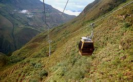Cable Car on Its Way Back from Kuelap Fortress Archaeological Site in Amazonas Region of Northern Peru. Telecabinas Kuelap or Cable Car on Its Way Back from stock photo