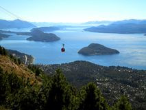 Cable Car and Lake. Beautiful view over a cable car, lake and islands stock photography