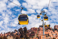 Cable car, LaPaz. Mi Teleferico is an aerial cable car urban transit system in the city of La Paz, Bolivia Stock Photography
